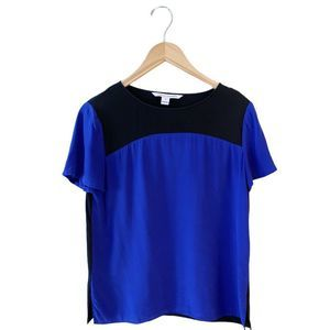 DVF Becky Silk Blouse Blue Black Colorblock 10